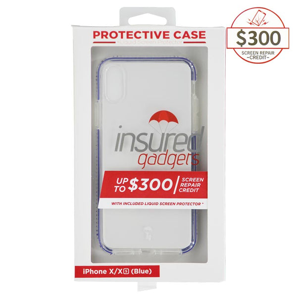 Ultra-thin protective case + Insured Gadgets up to $ 300.00 protection for iPhone X & iPhone XS - Blue