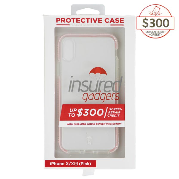 Ultra-thin protective case + Insured Gadgets up to $ 300.00 protection for iPhone X & iPhone XS - Pink
