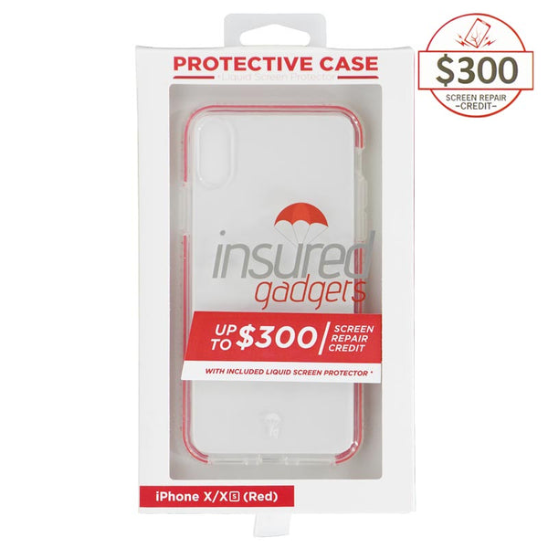 Ultra-thin protective case + Insured Gadgets up to $ 300.00 protection for iPhone X & iPhone XS - Red