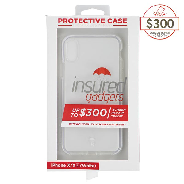 Ultra-thin protective case + Insured Gadgets up to $ 300.00 protection for iPhone X & iPhone XS - White