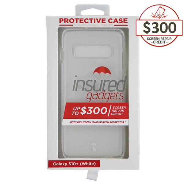 Ultra-thin protective case + Insured Gadgets up to $300.00 protection for Samsung Galaxy S10 Plus - White