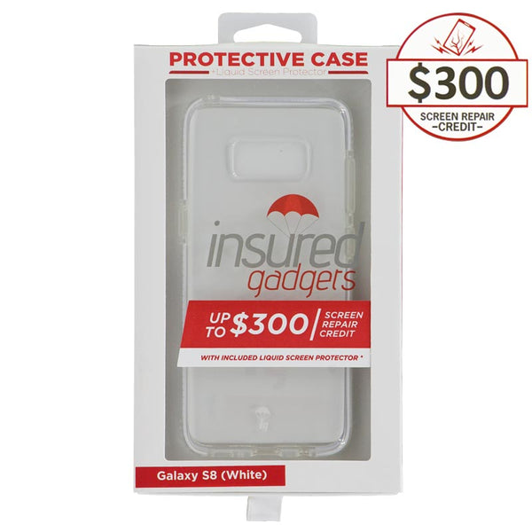 Ultra-thin protective case + Insured Gadgets up to $300.00 protection for Samsung Galaxy S8- White