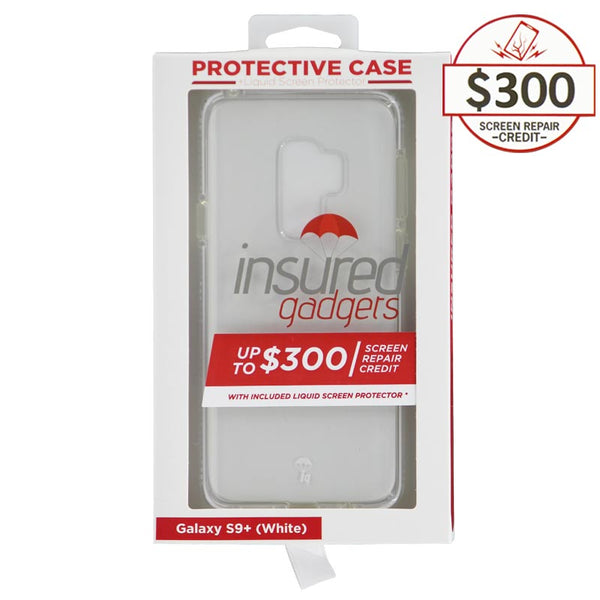 Ultra-thin protective case + Insured Gadgets up to $300.00 protection for Samsung Galaxy S9 Plus - White