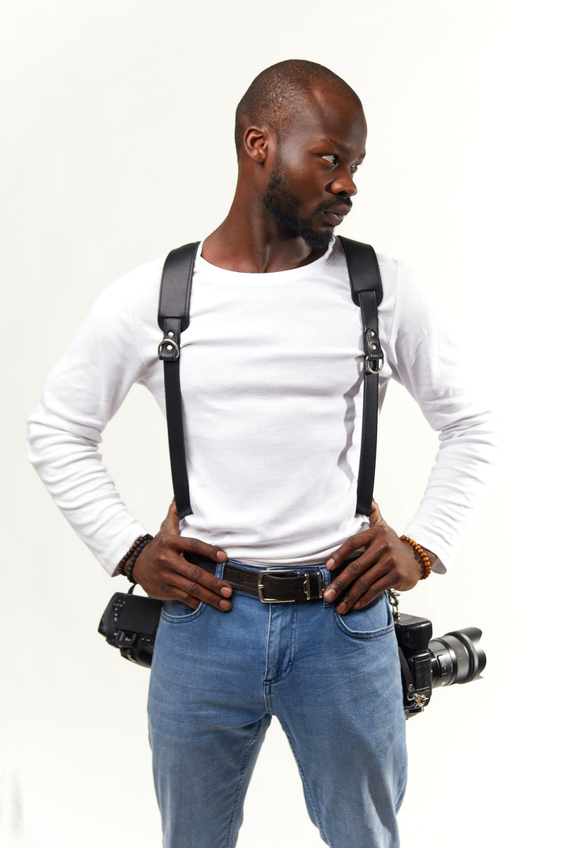 NEW SKINNY VERSION Black  DUAL HARNESS WITH PADDED SHOULDER