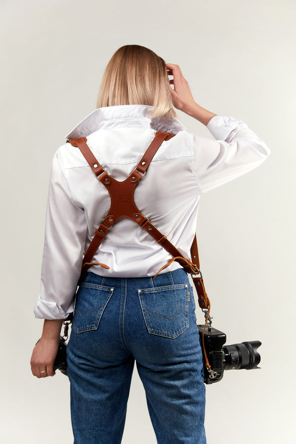 New Skinny Version Tan Dual harness with Padded shoulder