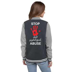STOP CHILD PSYCHOLOGICAL ABUSE WOMEN'S LETTERMAN JACKET