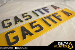 Skittles! Multi Coloured 3D GEL Neon number plates
