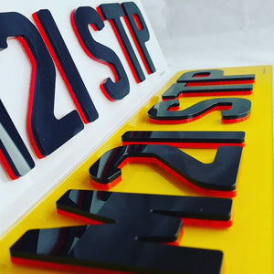 6MM 4D Neon red plates - with premium glossy finish