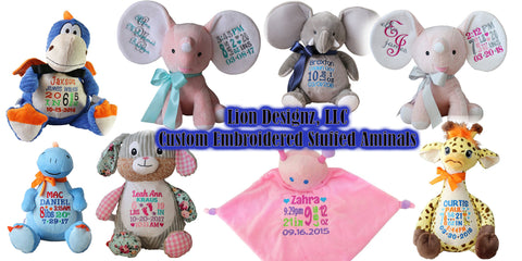 Embroidered Stuffed Aminals