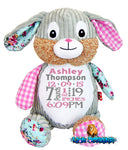 Embroidered harlequin bunny Pink