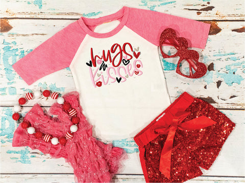 Adorable Girls Valentine's Day Shirt | Hugs & Kisses | Embroidered Shirt