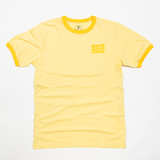 Camp Camp Distressed Logo Yellow Ringer Tee