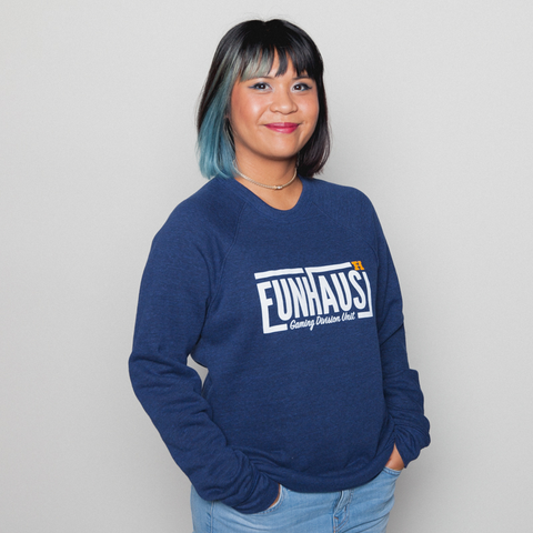 FUNHAUS NAVY CREW NECK SWEATER