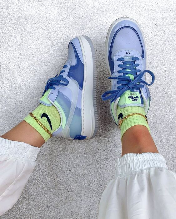 Nike Air Force 1 Shadow Ghost World Indigo Womens Project Sneakers The upper is dipped in a bold royal blue while teal complements the af1's. project sneakers project sneakers project sneakers