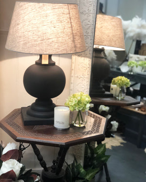 Turned Wood & Linen Shade Lamp