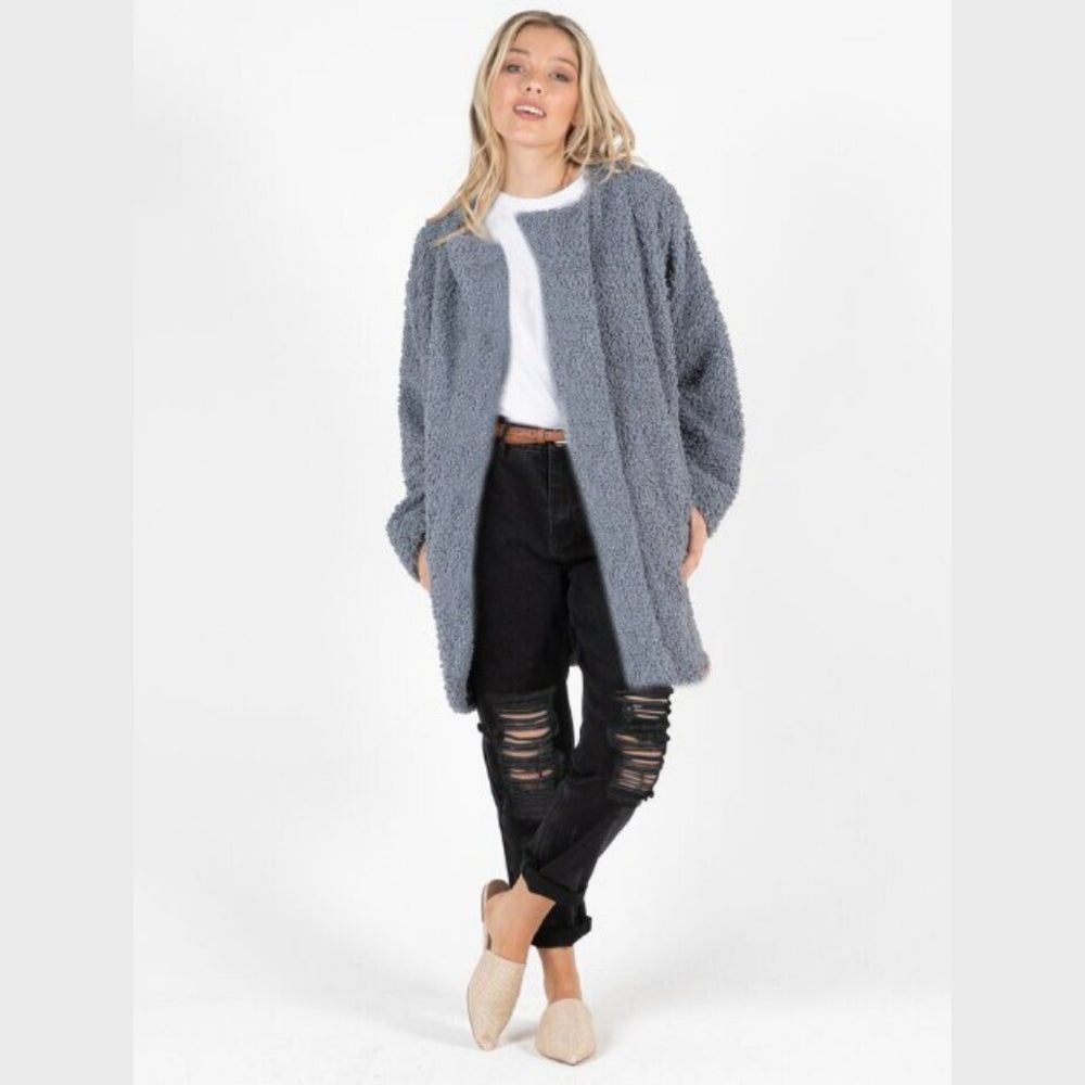 Fluffy Cocoon Coat - Chambray