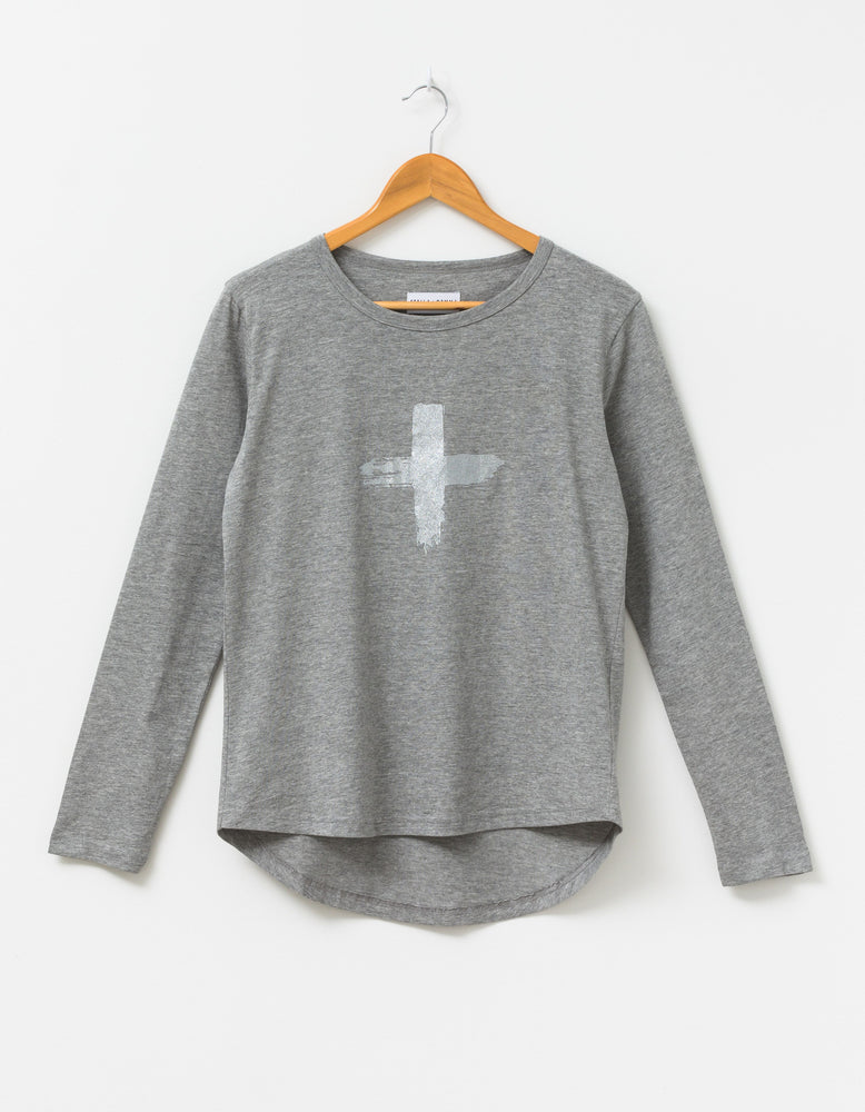 Long Sleeve Tee with Silver Cross