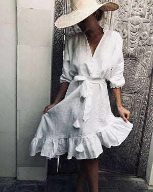 Load image into Gallery viewer, La-Ava Linen Smock Dress