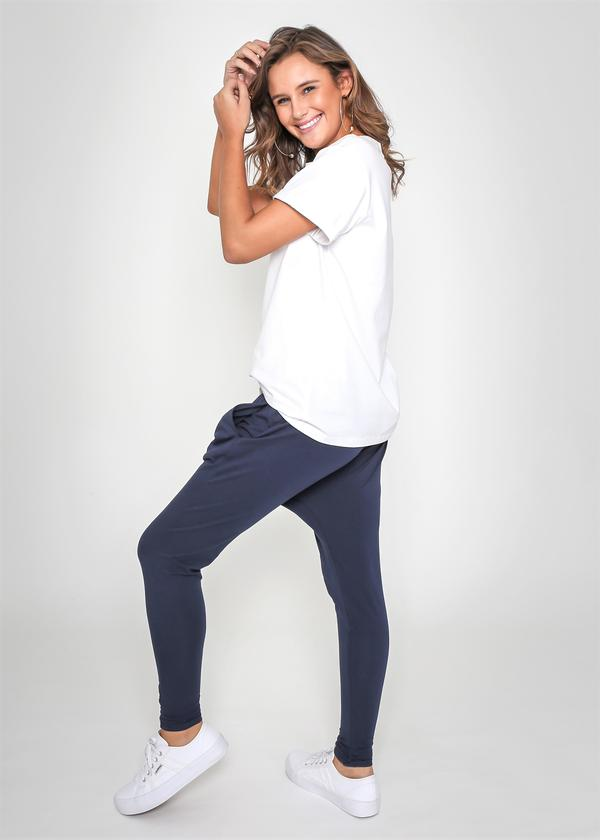 Draw string slouch pant navy