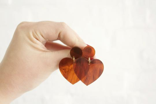 Tortoiseshell Love Heart Statement Dangle
