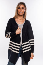 Edge to Edge Black Stripe Cardi
