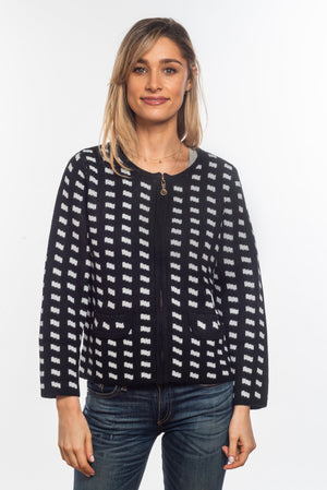 Load image into Gallery viewer, The Fran Zip Up Check Cardi