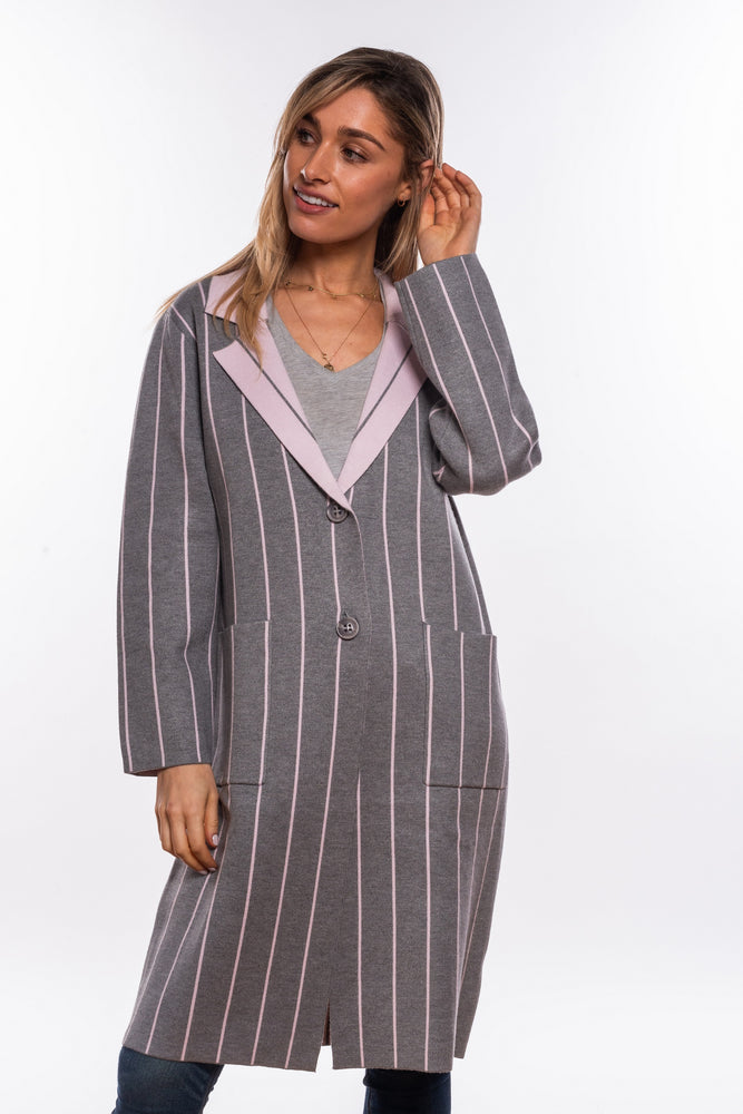 Longline PinStripe Coatigan - Grey