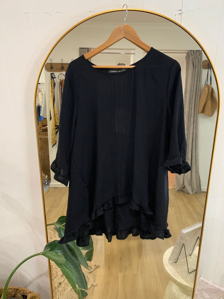 Load image into Gallery viewer, Plain Linen Ruffled top - Black
