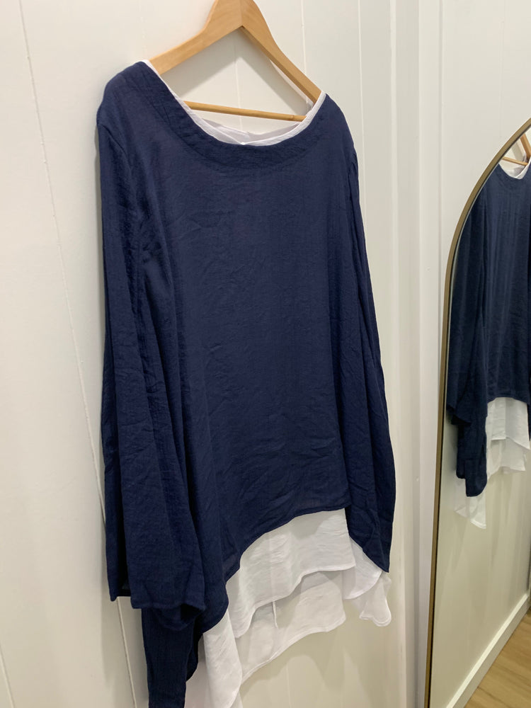 2 in 1 top - plus size - navy