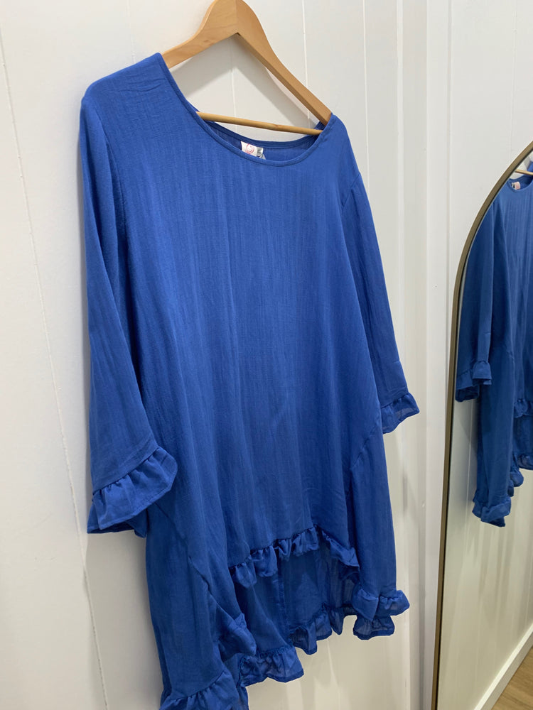 Load image into Gallery viewer, Linen ruffles top - blue