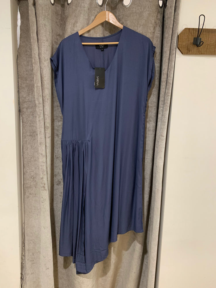 Load image into Gallery viewer, Drape Front Dress - Steel Blue