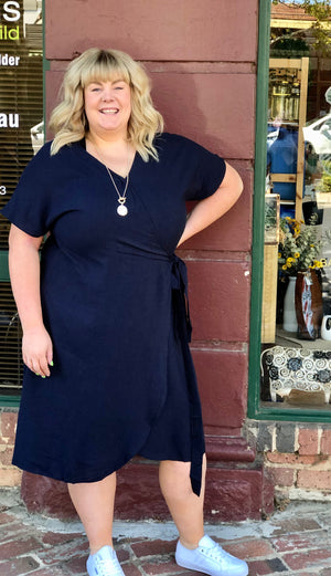 Load image into Gallery viewer, wrap dress in Navy