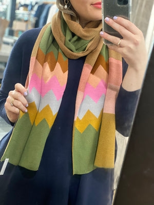Load image into Gallery viewer, Olive Zig Zag Scarf