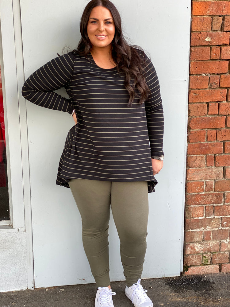 Long Sleeve Drop Back Tee - Khaki Stripe