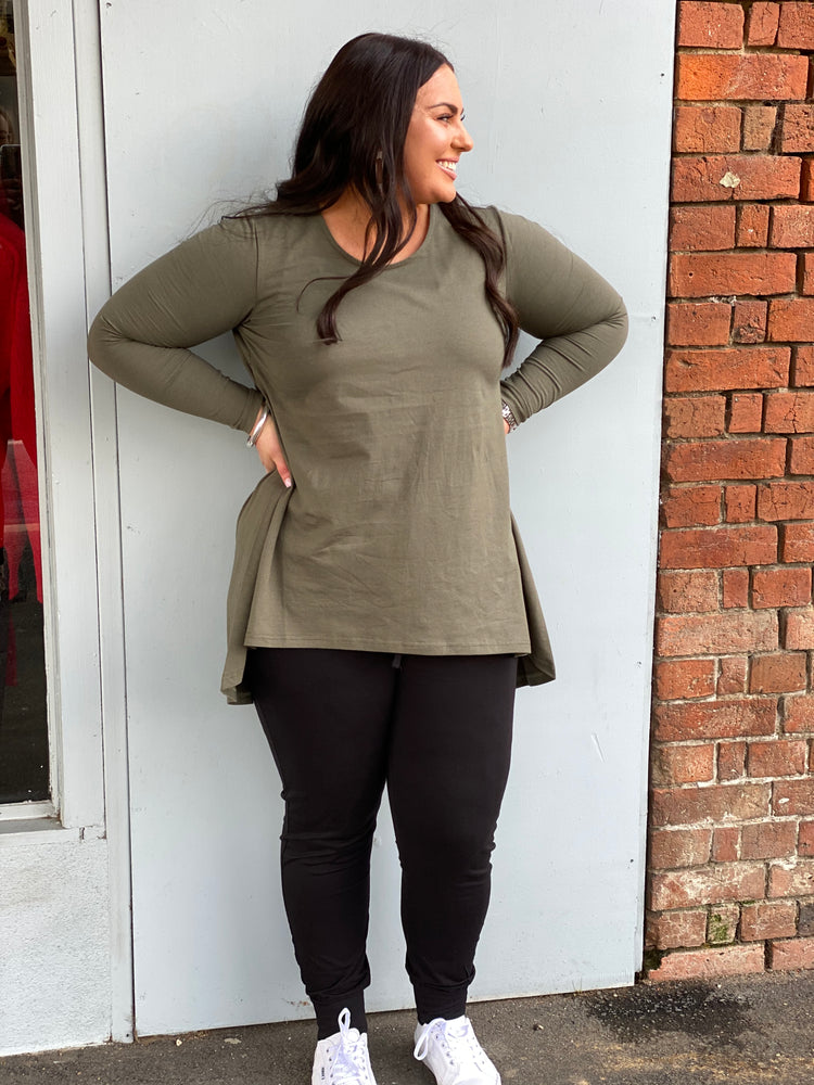 Long Sleeve Drop Back Tee - Khaki