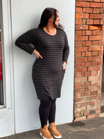 Long Sleeve Dress - Khaki Stripe