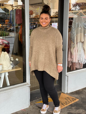The Maggie Roll Neck Knit - Coffee
