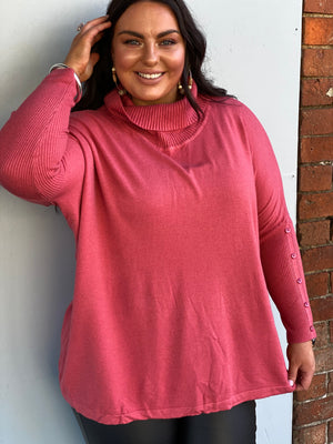Kiro Roll Neck Jumper - Rose