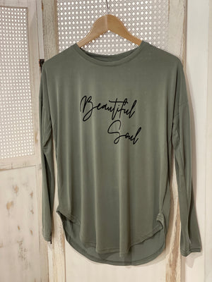 Beautiful Soul Long Sleeve Tee - Khaki