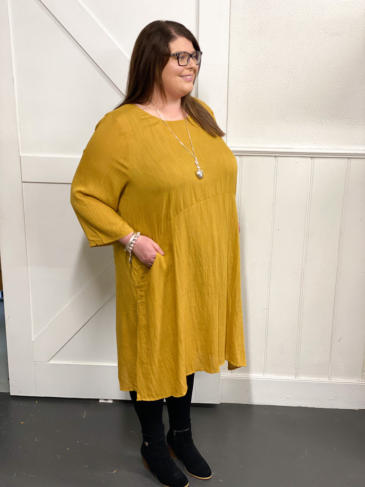 The Bella Linen Dress - Mustard