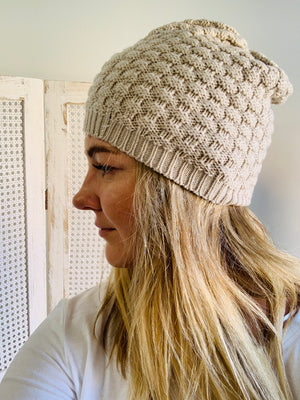 Load image into Gallery viewer, Basket Weave Beanie - Oatmeal