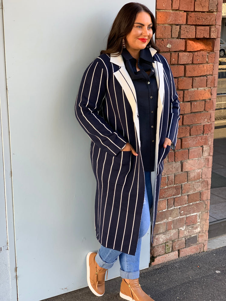 Longline PinStripe Coatigan - Navy