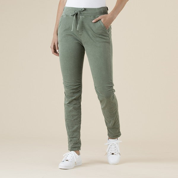 Load image into Gallery viewer, Tie Front Gathered Jean - Khaki