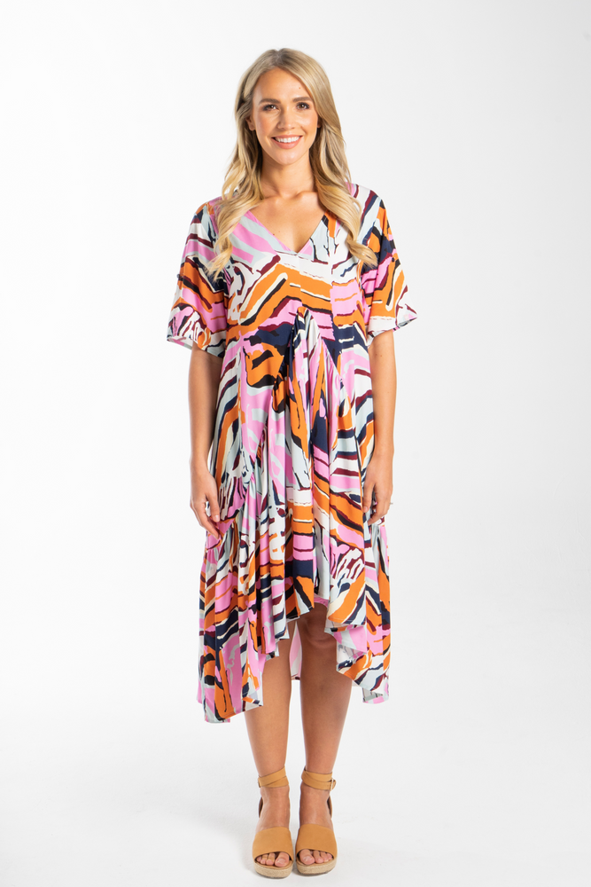 Peak Midi Dress in Tropical Zebra