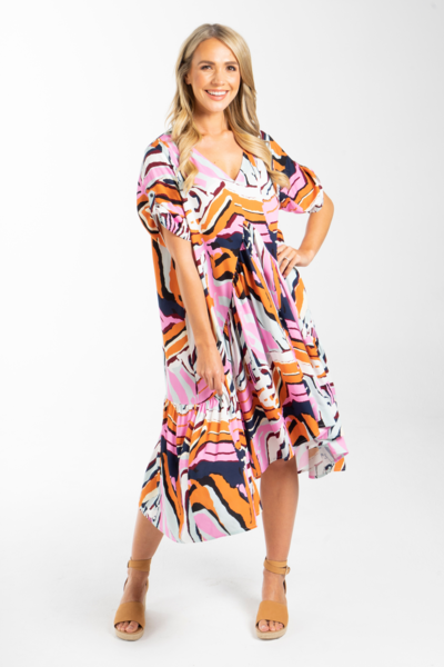 Load image into Gallery viewer, Peak Midi Dress in Tropical Zebra