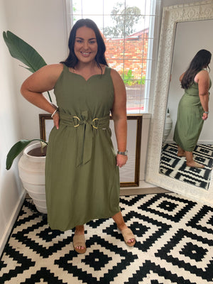 D Loop Waist Belt Dress - Olive
