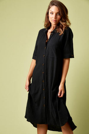 Load image into Gallery viewer, Sail Shirt Dress Black