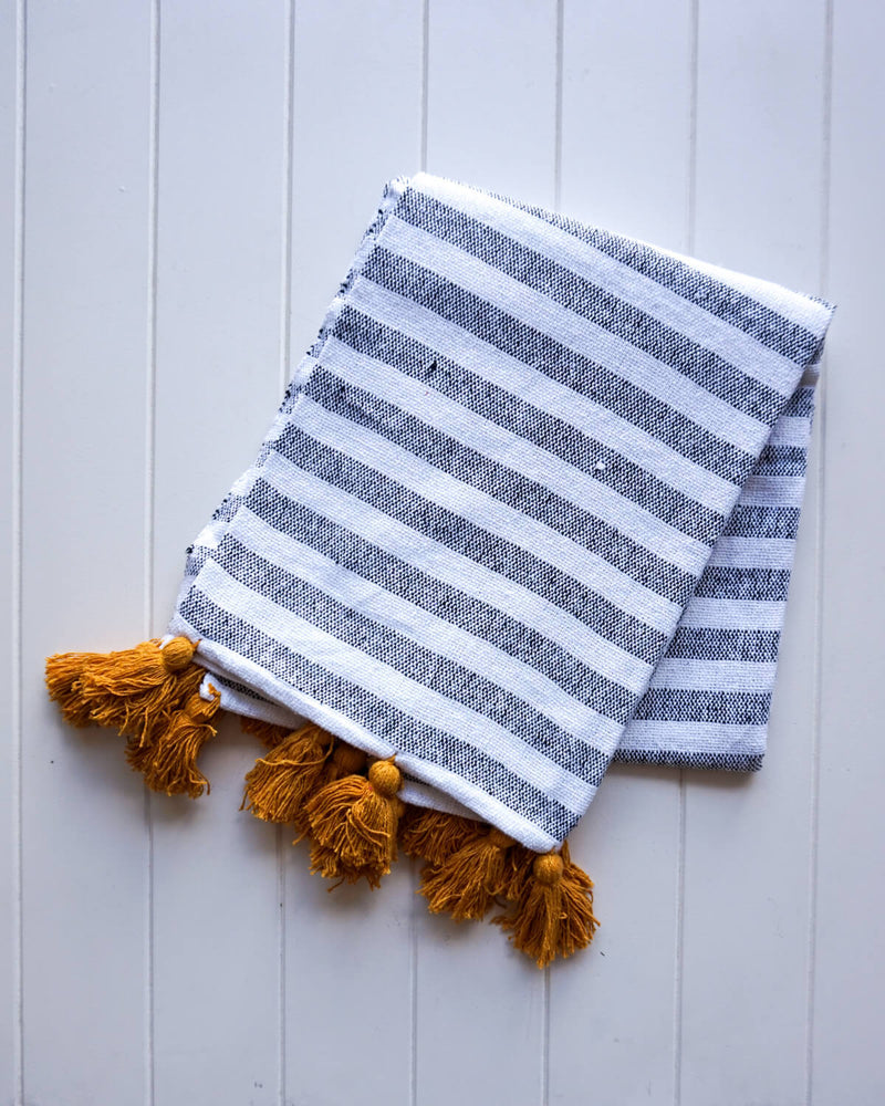 Fitzroy Throw Blanket - White, Mustard & Black