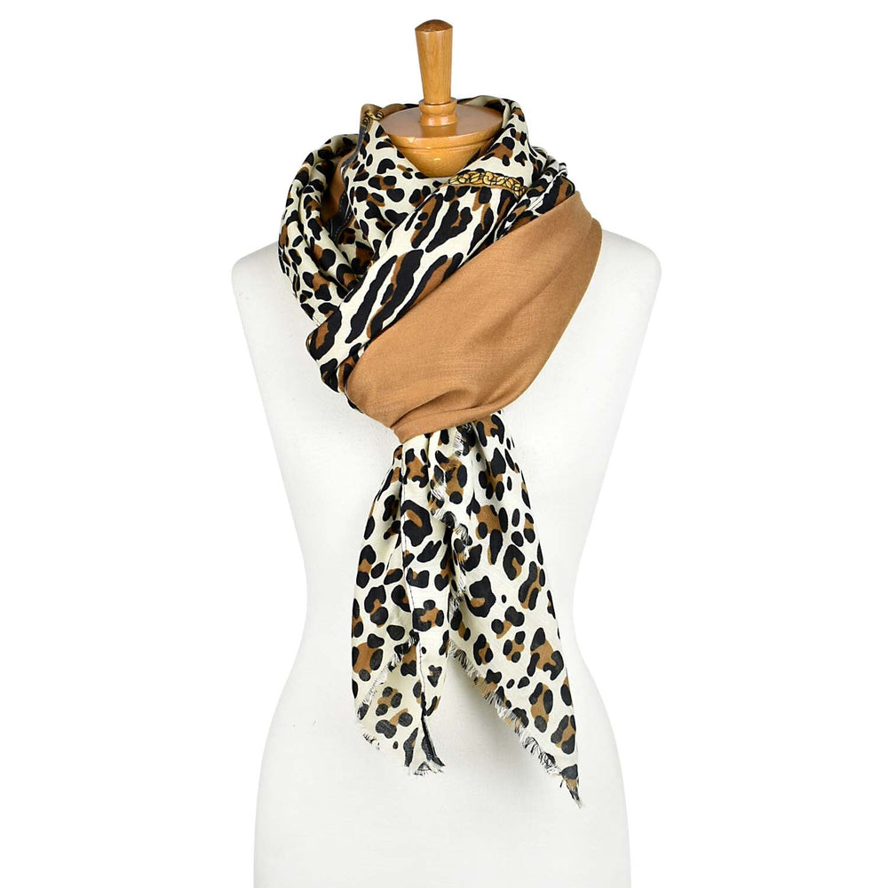 Animal Print Scarf  - Caramel
