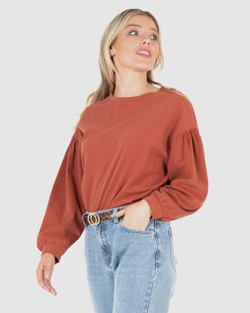 Mabel Crew Jumper - Rust